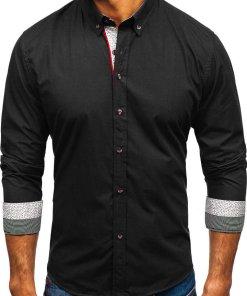 Camasa eleganta cu maneca lunga pentru barbat neagra Bolf 8839