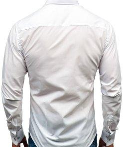 Camasa eleganta cu maneca lunga pentru barbat alba Bolf 8839