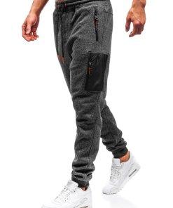 Pantaloni pentru barbati sportivi jogger gri-antracit-portocaliu Bolf Q3768