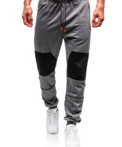 Pantaloni pentru barbati sportivi jogger gri-inchis Bolf Q3854
