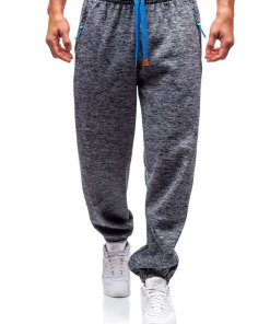 Pantaloni jogger sportivi pentru barbati gri-antracit-albastru Bolf Q3521