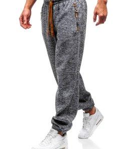 Pantaloni jogger sportivi pentru barbati grafit-maro Bolf Q3521