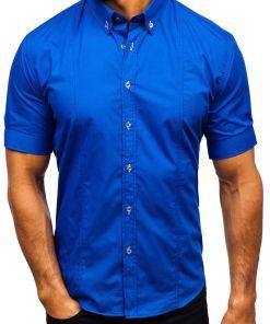Camasa eleganta cu maneca scurta albastru-aprins Bolf 5535