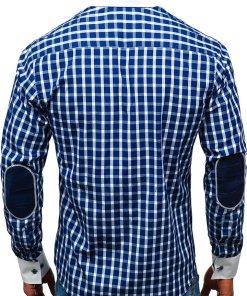 Camasa eleganta in carouri barbati cu maneca lunga bleumarin Bolf 5737-A