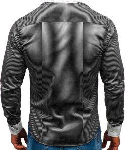 Camasa eleganta in dungi barbati negru Bolf 4784-A