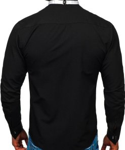 Camasa eleganta barbati negru papion+butoni Bolf 4702-A