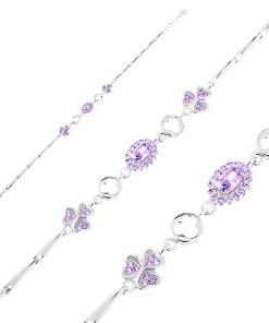 Bijuterii eshop - Bratara argint 925 ajustabil?, zale lucioasa, oval violet, trifoi AC18.31