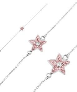 Bijuterii eshop - Bratara argint - lantisor cu stea roz si zircon U12.13