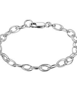 Bijuterii eshop - Bratara argint - lantisor dublu cu ochiuri ovale X40.10