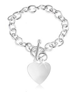 Bijuterii eshop - Bratara din argint 925, verigi ovale, inima plata si lucioasa SP37.22