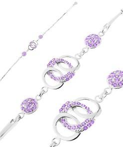 Bijuterii eshop - Bratara din argint 925, zale stralucitoare, cercuri unite, cercuri, zirconii violet AC18.09