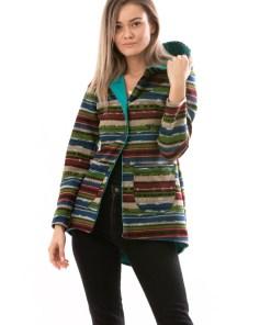 E841-100 Cardigan multicolor cu gluga si buzunare laterale