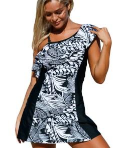 SW1420-1122 Costum de baie intreg stil rochita cu model monocrom