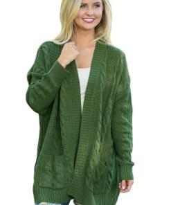 BL1003-120 Cardigan tricotat cu torsade, maneci lungi si buzunare
