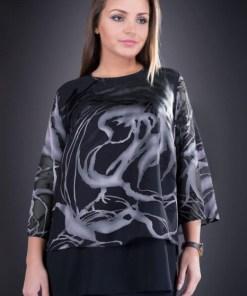 Bluza dama eleganta XXL din voal Doina negru gri