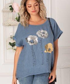 Bluza Moira albastra cu imprimeu metalizat pe bust