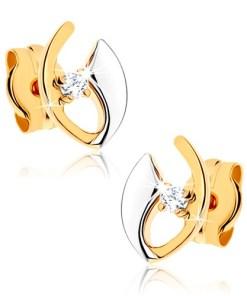 Bijuterii eshop - Cercei cu surub din aur 9K - linii îndoite, zirconiu transparent, placata cu rodiu GG41.04