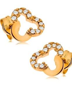 Bijuterii eshop - Cercei cu surub din aur galban 9K - contur de trifoi cu patru foi decorat cu zirconii transparente GG42.04