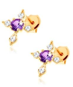 Bijuterii eshop - Cercei din aur 375 - ametist violet, cruce cu brate cu zirconii transparente GG62.22