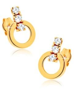 Bijuterii eshop - Cercei din aur 375 - contur cerc, linie de zirconii transparente stralucitoare GG40.04