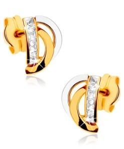 Bijuterii eshop - Cercei din aur 375 - linii arcuite în doua cusori, linie vertical? zirconii GG40.07