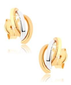 Bijuterii eshop - Cercei din aur 9K - trei linii curbate în doua cusori GG37.01