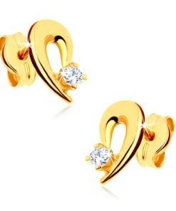 Bijuterii eshop - Cercei din aur galban 9K - contur de jum?tate de inima decorat cu pietre transparente GG39.11