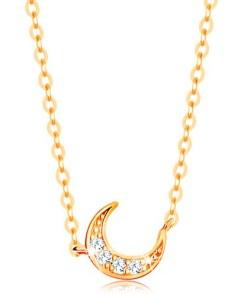 Bijuterii eshop - Colier realizatadin aur galban de 14K - Lant din zale ovale, semiluna cu zirconii GG139.03
