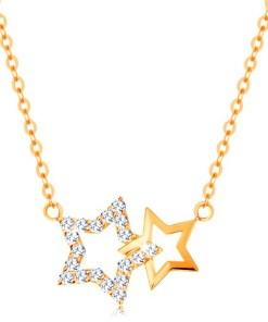 Bijuterii eshop - Colier realizatadin aur galban de 14K - doua contururi de stea, Lant finut GG138.24