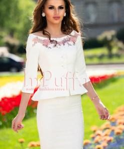 Compleu brocard alb elegant cu broderie florala