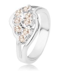Bijuterii eshop - Inel argintiu, brate ramificate, zirconii portocaliu deschis R41.13 - Marime inel: 52