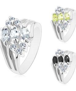 Bijuterii eshop - Inel argintiu decorat zirconii transparente si zirconii colorate în forma de bob M08.07 - Marime inel: 49, Culoare: Verde g?lbui