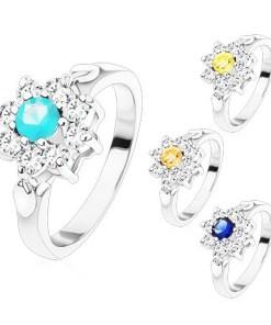 Bijuterii eshop - Inel argintiu, floare din zirconii cu mijloc colorat, frunze S15.10 - Marime inel: 49, Culoare: Galban