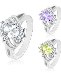 Bijuterii eshop - Inel argintiu, oval colorat, arce subtiri si zirconii transparente M06.07 - Marime inel: 49, Culoare: Mov Deschis