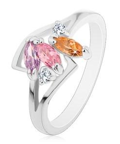 Bijuterii eshop - Inel argintiu, trei zirconii ?lefuite colorate, brate lucioasa despicate S17.01 - Marime inel: 55