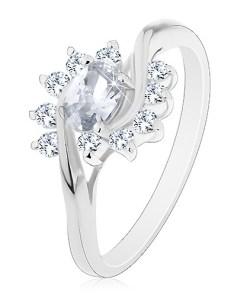 Bijuterii eshop - Inel argintiu, zirconiu oval, transparent si arce AC18.02 - Marime inel: 48