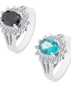 Bijuterii eshop - Inel cu brate despicate, zirconiu oval colorat si margine transparent? AC21.16 - Marime inel: 49, Culoare: albastru Deschis