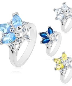 Bijuterii eshop - Inel cu brate lucioasa si ingusta, zirconii colorate în forma de bob, zirconii transparente M07.09 - Marime inel: 49, Culoare: Verde g?lbui