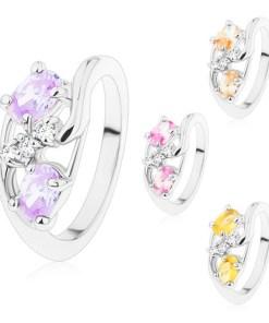 Bijuterii eshop - Inel cu brate ondulate, ovaluri mari colorate, zirconii transparente M10.09 - Marime inel: 49, Culoare: Roz