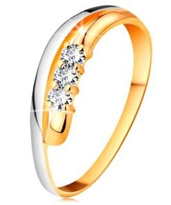 Bijuterii eshop - Inel cu diamant din aur 18K, brate ondulate bicolore, trei diamante transparente BT503.69/75 - Marime inel: 51