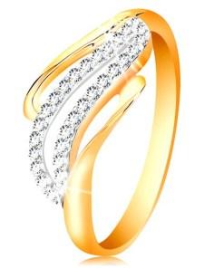 Bijuterii eshop - Inel din aur 14K - linii unduite ale bratelor, zirconii transparente stralucitoare GG199.32/39 - Marime inel: 50