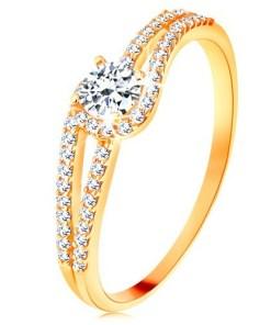 Bijuterii eshop - Inel din aur 375 cu brate stralucitoare despicate, zirconiu transparent GG118.35 - Marime inel: 52
