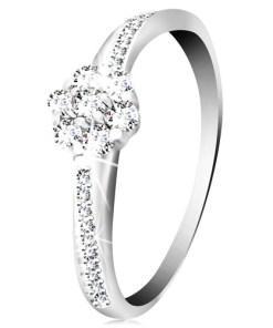 Bijuterii eshop - Inel din aur alba14K - floare lucioasa si zirconii transparente, brate decorate GG59.27/32 - Marime inel: 49
