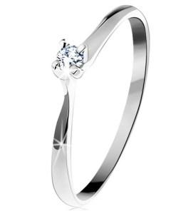 Bijuterii eshop - Inel din aur alba585 - zirconiu stralucitor si transparent într-o montur? în patru puncte GG203.01/08/203.59/60 - Marime inel: 49