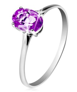 Bijuterii eshop - Inel din aur albade 14K, cu ametist violet, brate ingusta GG204.44/51 - Marime inel: 49