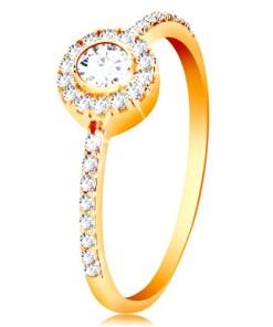 Bijuterii eshop - Inel din aur de 14K - zirconiu rotundaîn cerc, brate cu zirconiu  GG199.25/31 - Marime inel: 50