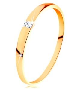 Bijuterii eshop - Inel din aur de 14K - zirconiu transparent, brate neteda, proeminente  GG202.09/15 - Marime inel: 49