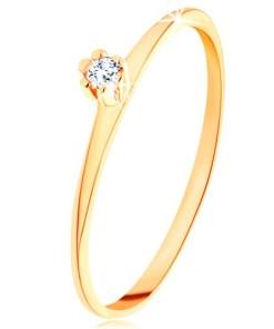 Bijuterii eshop - Inel din aur galban 14K - zirconiu rotunda transparent, brate fine, te?ite GG202.16/22 - Marime inel: 48