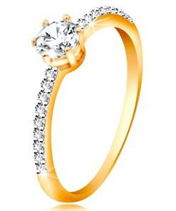 Bijuterii eshop - Inel din aur galban 14K - zirconiu transparent stralucitor în montur?, brate cu zirconii GG192.45/51 - Marime inel: 49