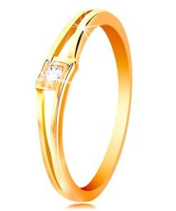 Bijuterii eshop - Inel din aur galban de 14K - zirconiu rotundasi transparent în romb, brate separate GG201.01/07 - Marime inel: 50